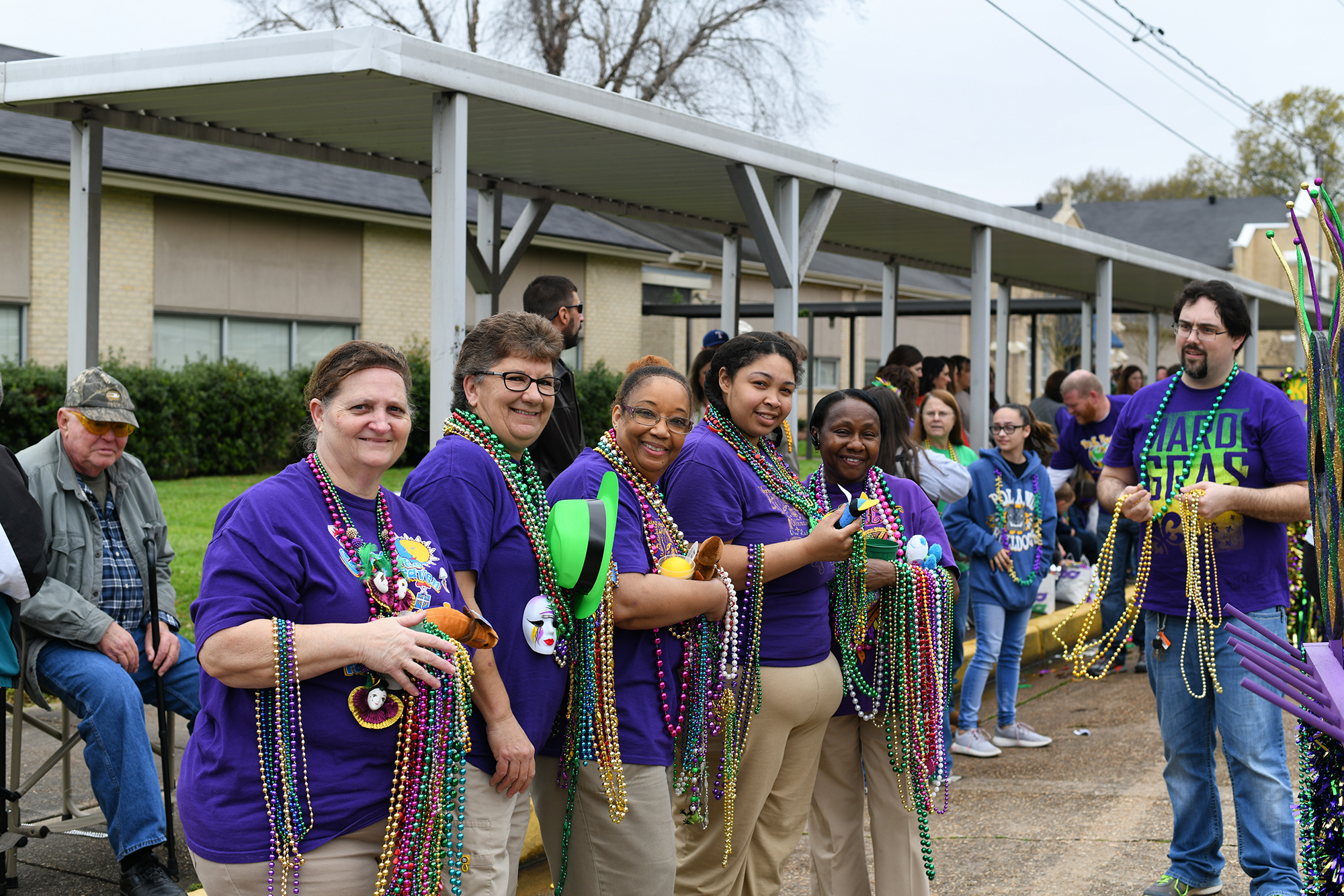 Our Lady of Prompt Succor School in Alexandria held their annual Pre-K Mardi Gras Parade on Mar. 1.  The entire student body, faculty and parents line up to catch beads and trinkets as the Pre-K classes parade down 21st Street in front of the school. Also participating were the Penny Kings, Queen, Prince, and Princess from Fall Festival, and the 2018 ReProm King and Queen. OLPS Staff laissez les bons temps rouler!